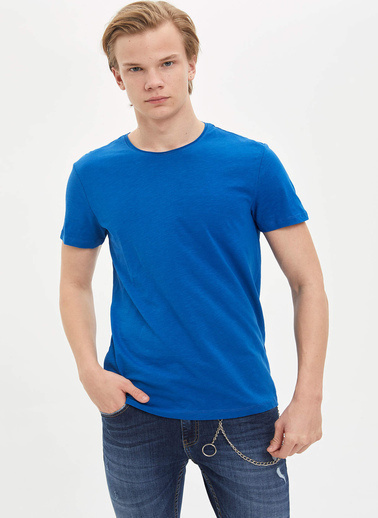 DeFacto Basic Slim Fit T-Shirt Mavi